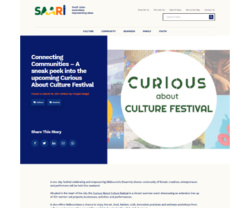 A Saari Collective Website article featuring the curious about culture festival