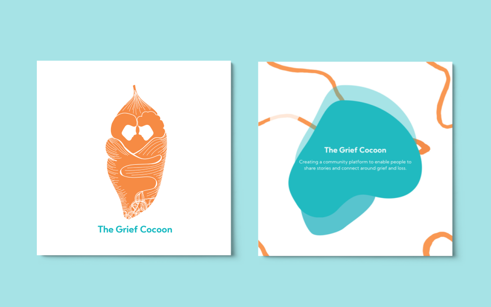 The Grief Cocoon visuals created by the design consultancy, The Creative Co-Operative